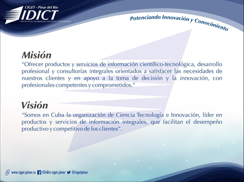 Misión y Visión del CIGET - Pinar del Río